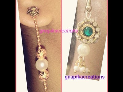How to make simple earrings with ball chain easy way in home