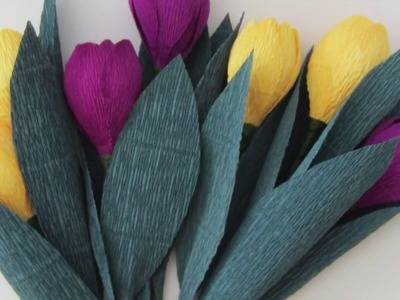 HOW TO MAKE SPRING TULIP FLOWERS USING CREPE PAPER