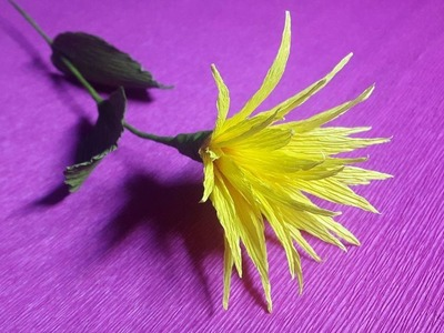 How to Make Yellow Paper flowers - Flower Making of Crepe Paper - Paper Flower Tutorial