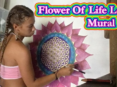 ????How to paint a Flower of Life Mural ~ Time-lapse By Francesca Love Artist????