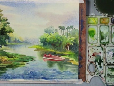 How to Paint A Riverside Landscape in Watercolor