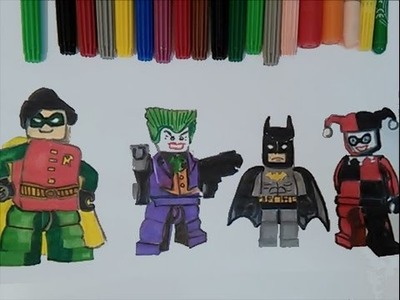 Lego Batman & Family How to color  Batman, Joker, Robin, Harley Quinn, lerning colors coloring pages