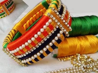 Making Silk Thread Bangles |How to make Silktread bangle hair clips athome by beautiful girl easily