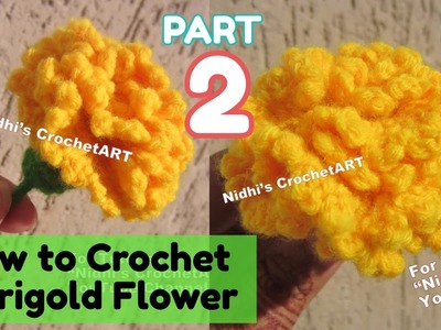 PART 2- How to Crochet Marigold galgota Flower Stitch Tutorial for Beginners