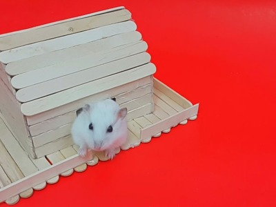 Popsicle sticks crafts - How to make popsicle hamster house