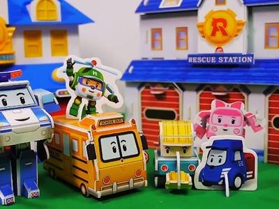 Robocar Poli Amber Paper Craft Car Toys. How to Make Poli