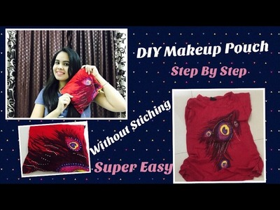 Convert old T- shirt into makeup pouch || How to recycle old T- Shirt.DIY