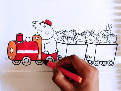 Disney Brilliant Coloring Book for kids Learn Colors with Peppa Pig Family in train Rainbow Colors
