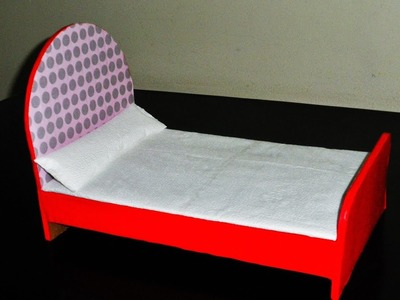 DIY | How to Make a Cardboard Bed for Doll | Made With Cardboard & Colorful Paper |