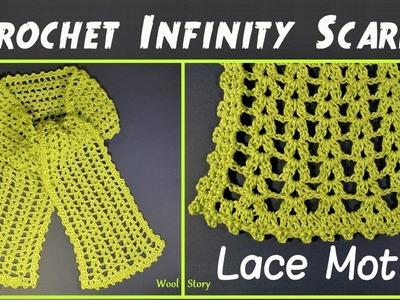 Easy Crochet Infinity Scarf - Lace Motif (Heklani šal)