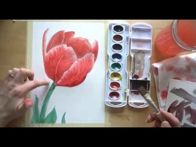 How to draw and paint a Tulip with watercolors BEGINNER TUTORIAL