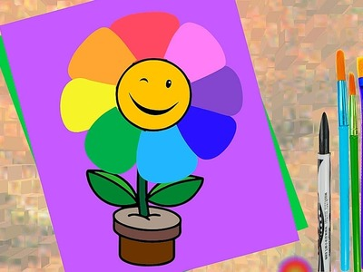 How to Draw Rainbow Flower for Kids. Coloring Page. Learn Color and Paint for Children