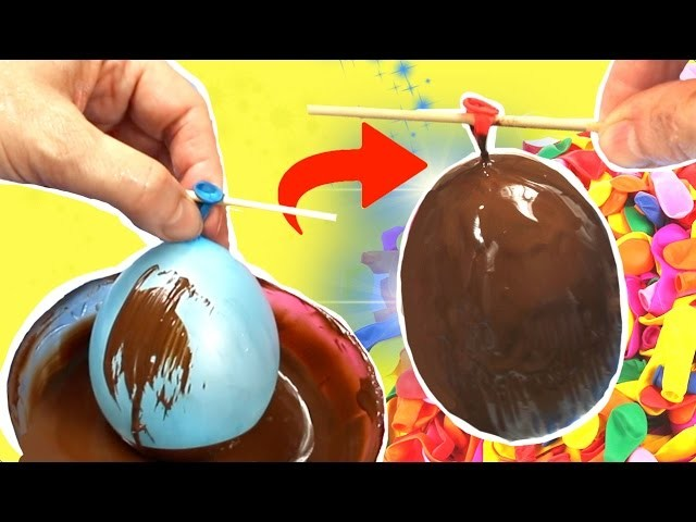 How to make a homemade chocolate egg  with a balloon