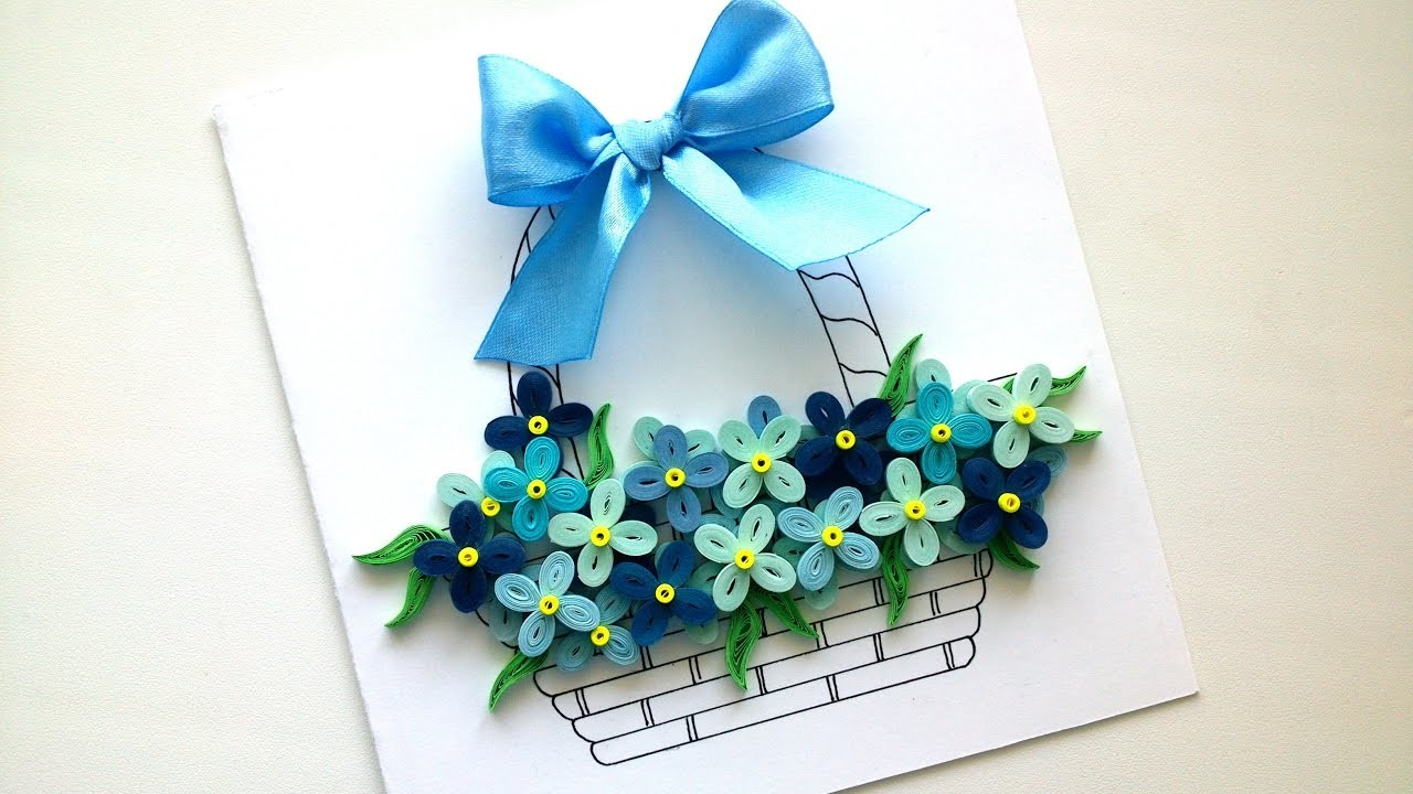 How to make a Simple Card with quilling flowers - Easy DIY ...