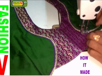 How to make Designer  Blouse at Home-41||Designer Bridal Back Neck Blouse Pattern - 2017||stitching