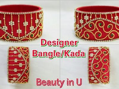 How to make Designer Silk Thread Bridal Bangle.Kada at Home | Tutorial