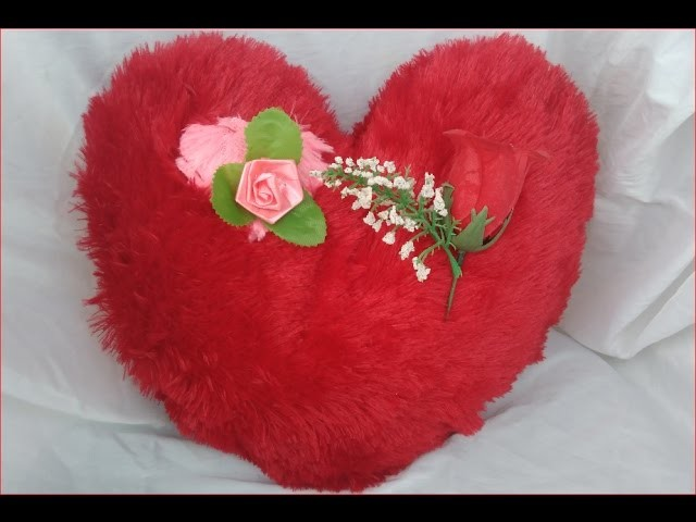 How to make HEART shape cushion with English subtitles DIY हार्ट आकार कुशन बनाएं