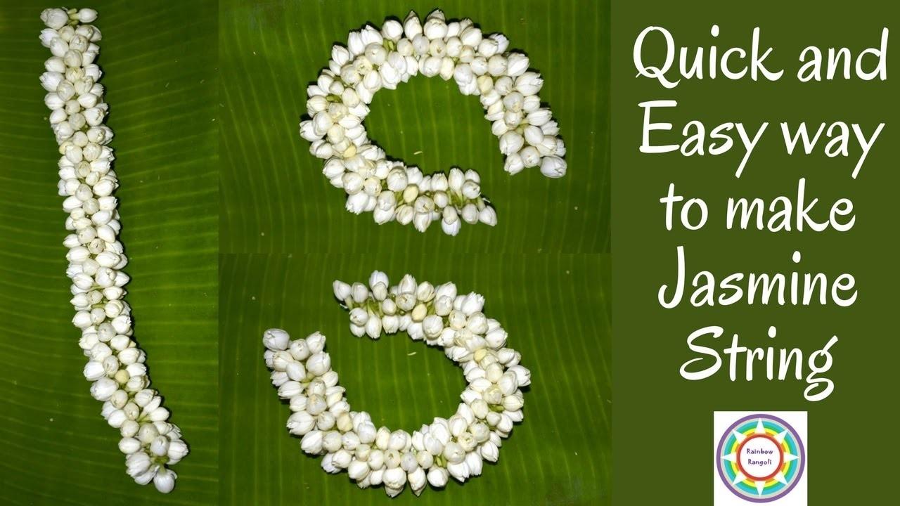 How to make jasmine garland easy way to string flower with needle izmirmasajfo