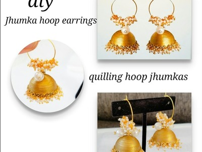 How To Make Jhumkas With Quilling  Ring model jhumkas  Hoop jhumkas