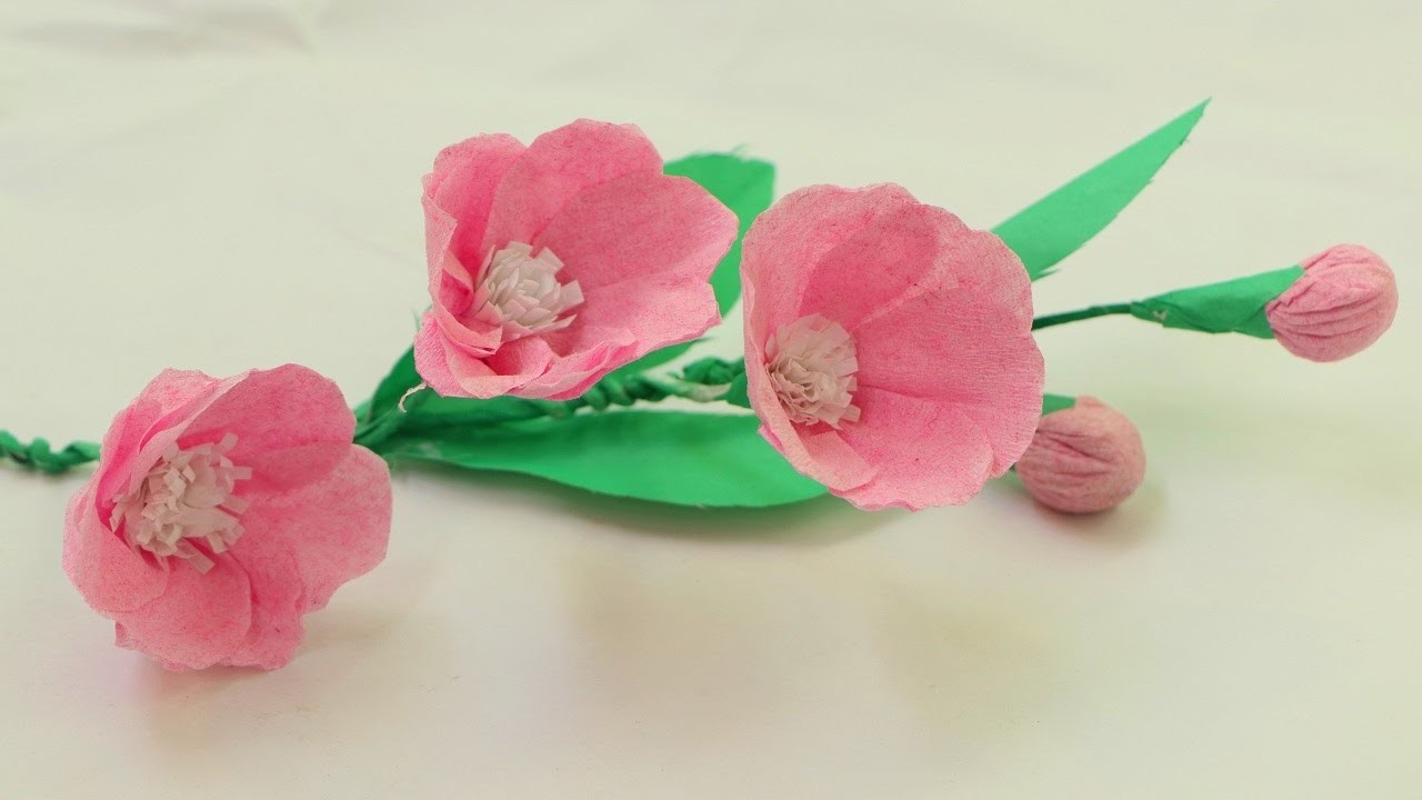 How To Make Origami Paper Flowers With Using Crepe Paper