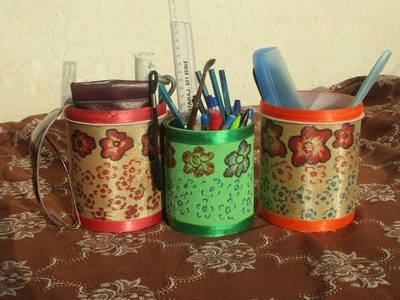 How to Make Pen Holder Using Waste Material [HINDI]