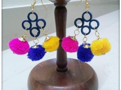 How to make Pom Pom earrings. DIY Pom Pom earings