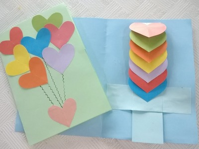 How to Make Rainbow Heart Waterfall Card by Paper