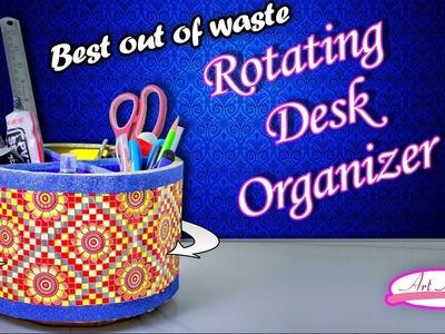 How to make rotating desk organizer   desk organizer   Best out of waste   DIY   Artkala 145