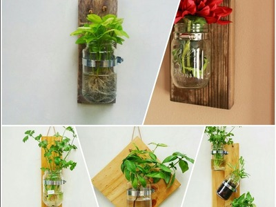 How to Make Rustic Wall Garden from Pallet Wood and Jar