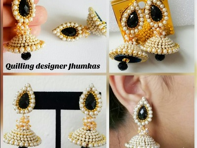 How to make simple Pearl jhumkas|Quilling Jhumkas