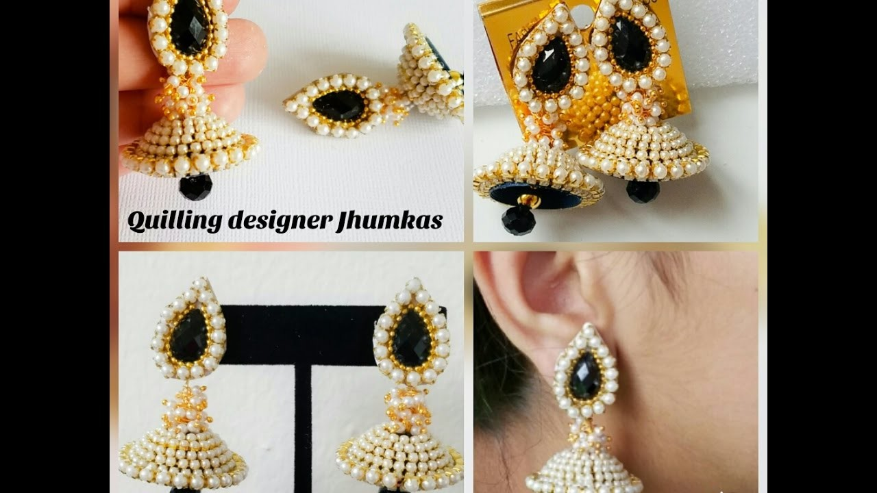 How to make simple Pearl jhumkas Quilling Jhumkas