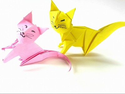 Origami Tutorial - How to fold an Easy Origami Neko cat