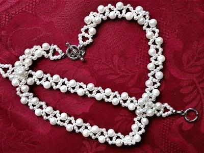 Pearl Jewelry Design. How to Make a Handmade White Pearl Bead Set