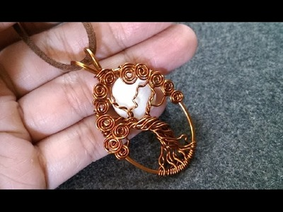 """Pendant """"tree of life with moon"""" - How to make wire jewelery 227"""