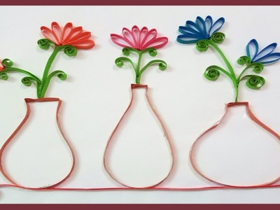 Quilling Made Easy | How To Make Beautiful Flower Pot | Wall Decorations | Paper Quilling Art