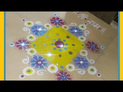 Super easy lnnovative  rangoli   Creative rangoli designs using comb & cotton bud