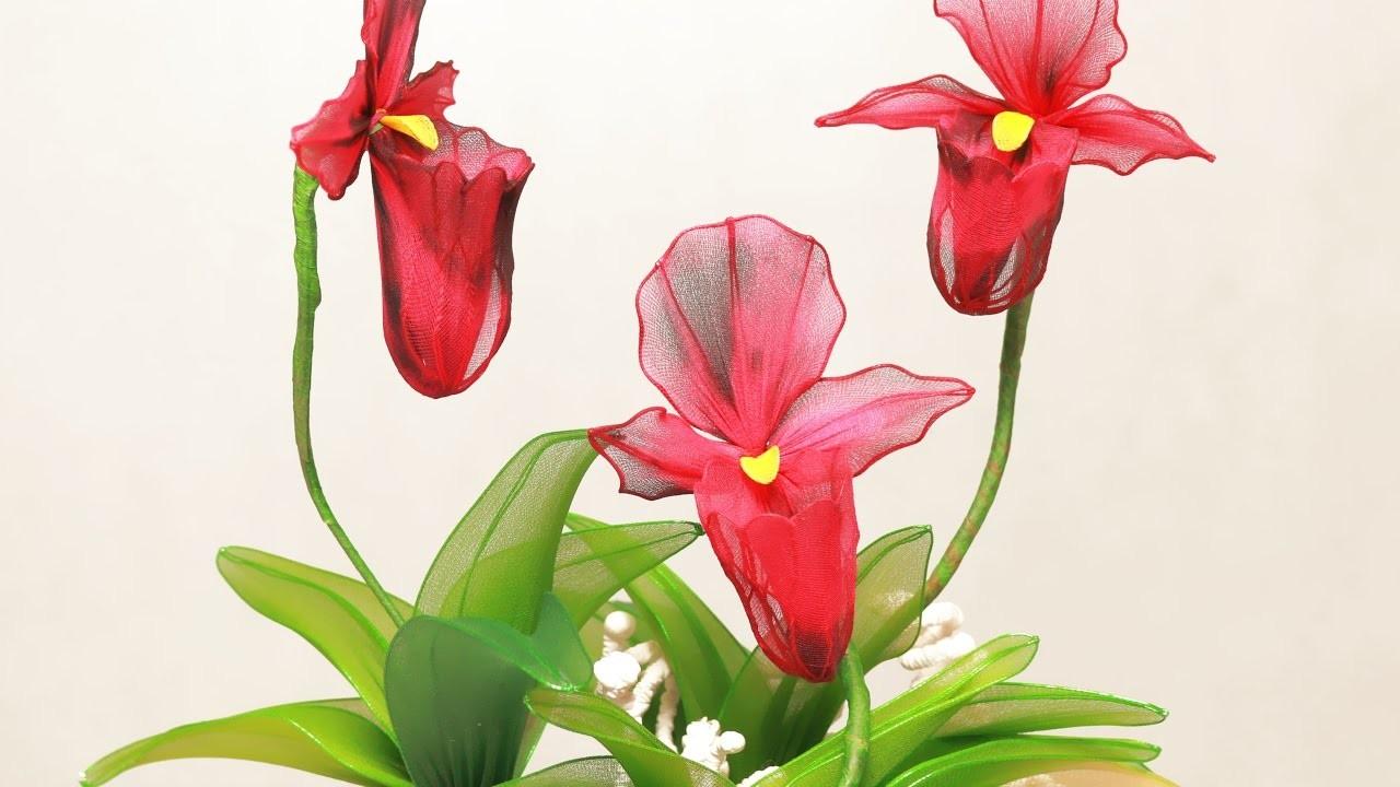 Tập 9: Làm hoa LAN THIẾT HÀI bằng vải voan - How to make stocking Nepenthes flower