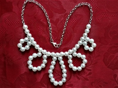 10 minutes DIY pearl necklece. Beginners Necklace Pattern
