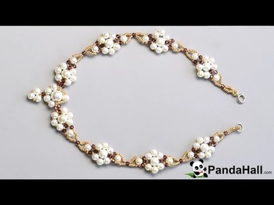 140   Pearls Design   How to Make a Pearl Beaded Flower Necklace with Seed Beads 1