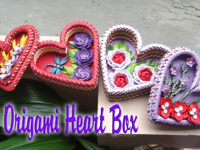 3D ORIGAMI HEART BOX | PAPER HEART BOX WITH FLOWER