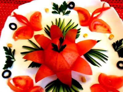 4 LIFE HACKS HOW TO MAKE TOMATO GARNISH DESIGN FLOWER & HOW TO CUT CUCUMBER - VEGETABLE CARVING