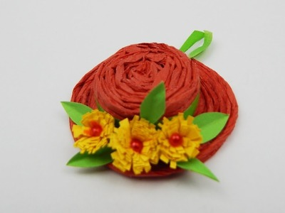 Basthat with quilling flowers DIY decoration hat flower papercraft deco