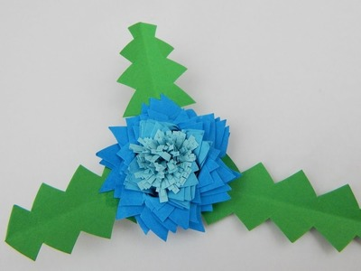 Blue quilling decoration flower with triangular petals DIY papercraft deco