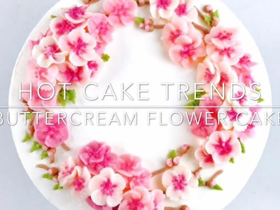 Cherry Blossom buttercream flower wreath cake - how to make by Olga Zaytseva.CAKE TRENDS 2017 #12