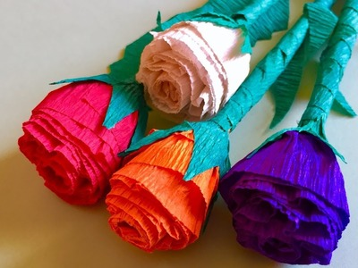 Crepe Paper Rose flowers bunch | arts and crafts - crepe paper flower bouquet
