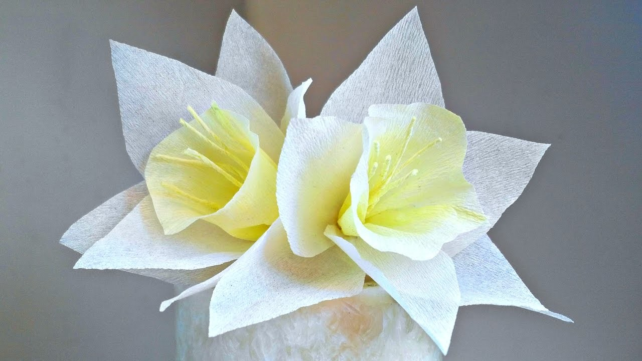 Daffodils Narcissus Crepe Paper Flower For Decoration Arts And