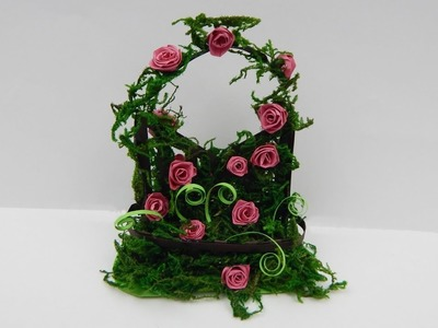 Decoration trellis with quilling roses DIY  Vintage deco papercraft rose
