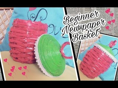 DIY ???? Beginner Newspaper Weaving Basket ❤ How to make newspaper easy circle basket