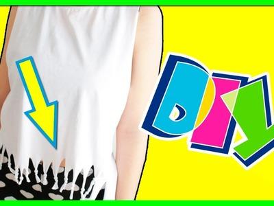 DIY camiseta CUT-OUT! PERSONALIZA tu CAMISETA con flecos! ✅  Top Tips & Tricks en 1 minuto