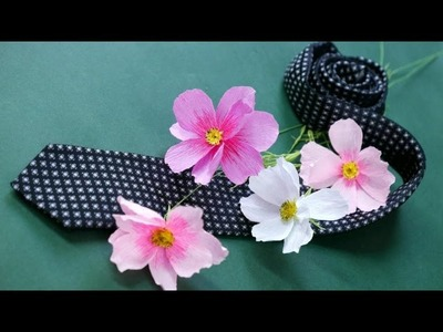 DIY - Craft tutorial - How to make paper flower - Cosmos - by crepe paper - Hoa cánh chuồn giấy nhún